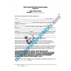 Bill of Sale of Personal Property - South Carolina (No Warranty)