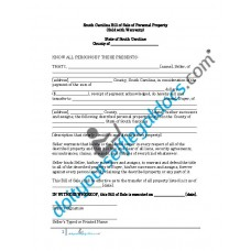 Bill of Sale of Personal Property - South Carolina (Warranty)
