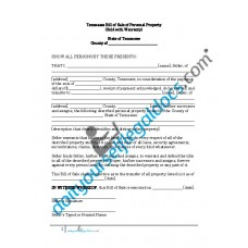 Bill of Sale of Personal Property - Tennessee (Warranty)