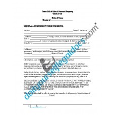 Bill of Sale of Personal Property - Texas (No Warranty)