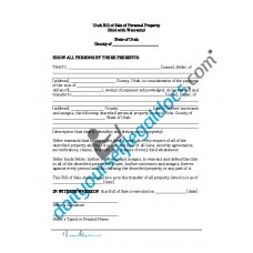 Bill of Sale of Personal Property - Utah (Warranty)