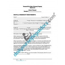 Bill of Sale of Personal Property - Vermont (No Warranty)