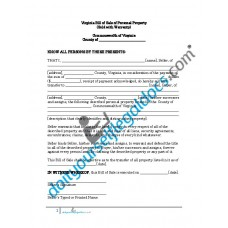 Bill of Sale of Personal Property - Virginia (Warranty)