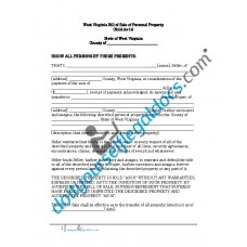 Bill of Sale of Personal Property - West Virginia (No Warranty)