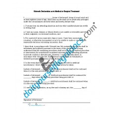 Colorado Declaration as to Medical or Surgical Treatment