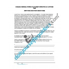 Durable General Power of Attorney Effective at Future Time NY Statutory Short Form