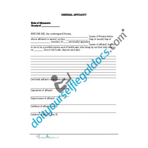General Affidavit - Minnesota - Business Document Form - Download Online