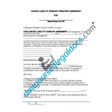Limited Liability Company Operating Agreement - Manager Managed - Iowa