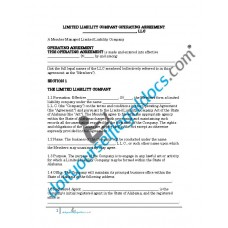 Limited Liability Company Operating Agreement (Member Managed) - Alabama