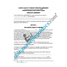 Limited Liability Company Operating Agreement (Member Managed) - California