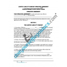 Limited Liability Company Operating Agreement (Member Managed) - Massachusetts