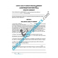Limited Liability Company Operating Agreement (Member Managed) - Oregon