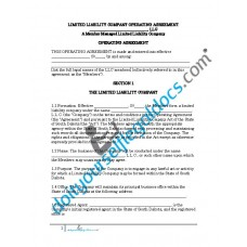 Limited Liability Company Operating Agreement (Member Managed) - South Dakota