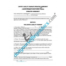 Limited Liability Company Operating Agreement (Member Managed) - Texas