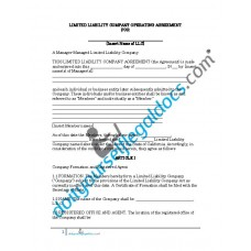 Limited Liability Company Operating Agreement - Manager Managed - California