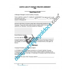 Limited Liability Company Operating Agreement - Illinois