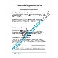 Limited Liability Company Operating Agreement - Manager Managed - Kansas