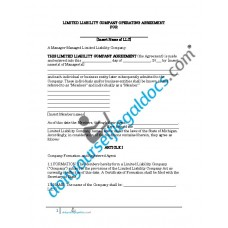 Limited Liability Company Operating Agreement - Manager Managed - Michigan