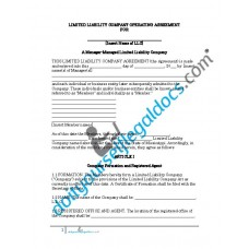Limited Liability Company Operating Agreement - Manager Managed - Mississippi