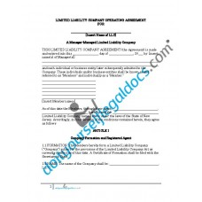 Limited Liability Company Operating Agreement - Manager Managed - New Jersey