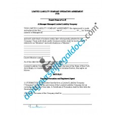 Limited Liability Company Operating Agreement - Manager Managed - New York