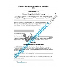 Limited Liability Company Operating Agreement (Manager Managed) - Utah