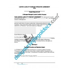 Limited Liability Company Operating Agreement - Manager Managed - Wyoming
