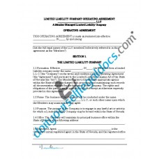 Limited Liability Company Operating Agreement (Member Managed) - Nevada