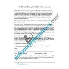 North Carolina Statutory Form Health Care Power of Attorney