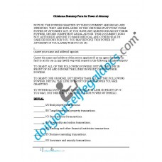 Oklahoma Statutory Form for Power of Attorney